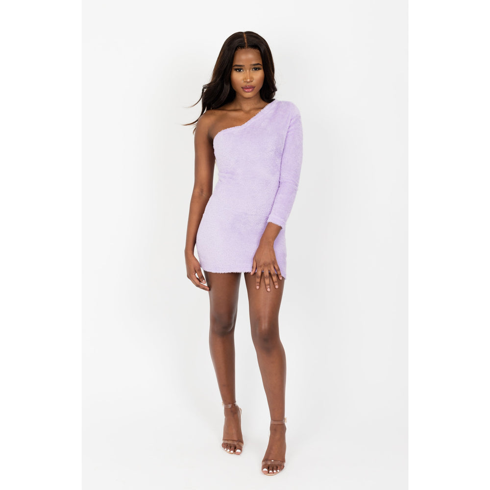One shoulder soft Lilac Mini Dress