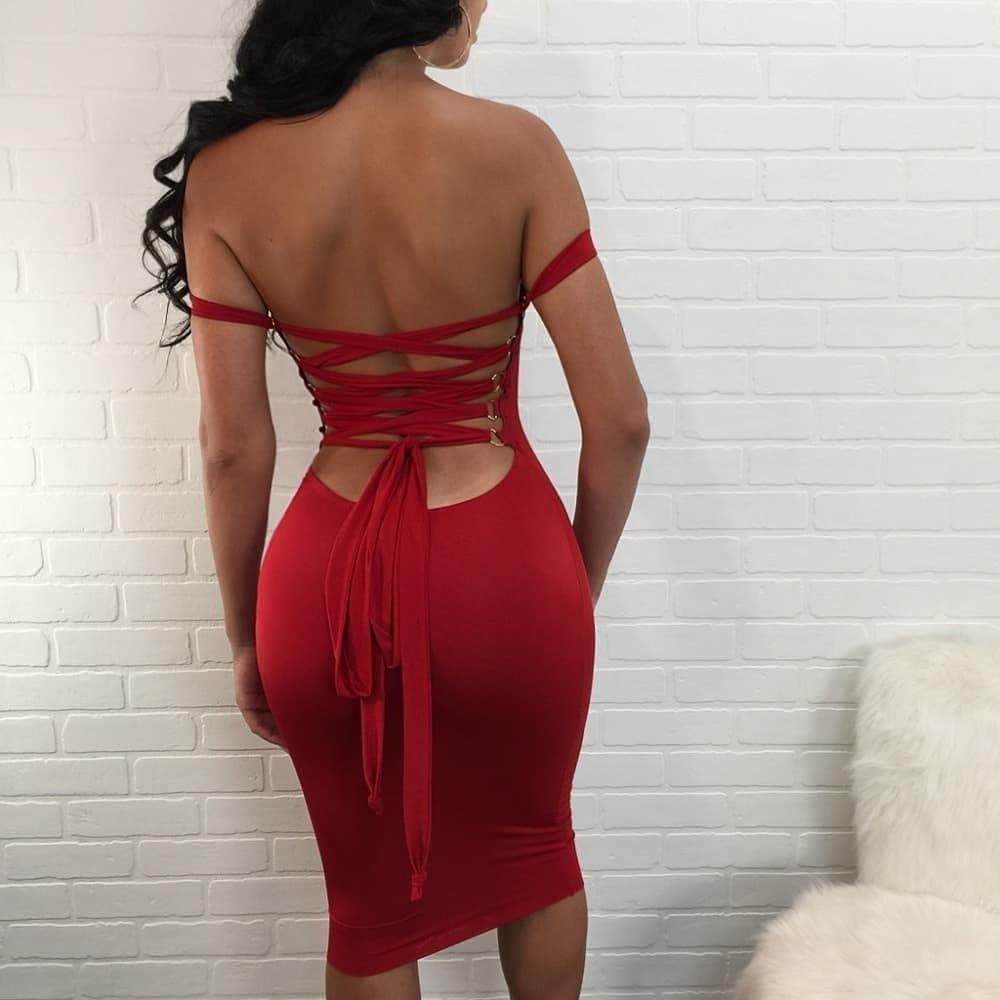 June Backless Pencil Dress in Red
