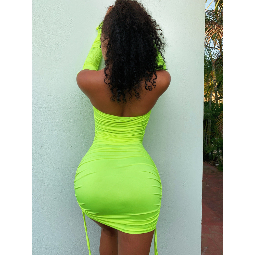Ava Off Shoulder Bodycon Green neon Dress
