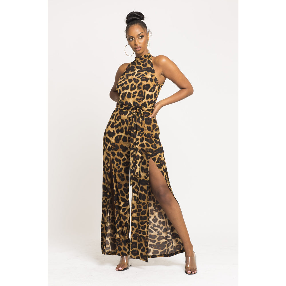 Sleeveless Long Leopard split Jumpsuit