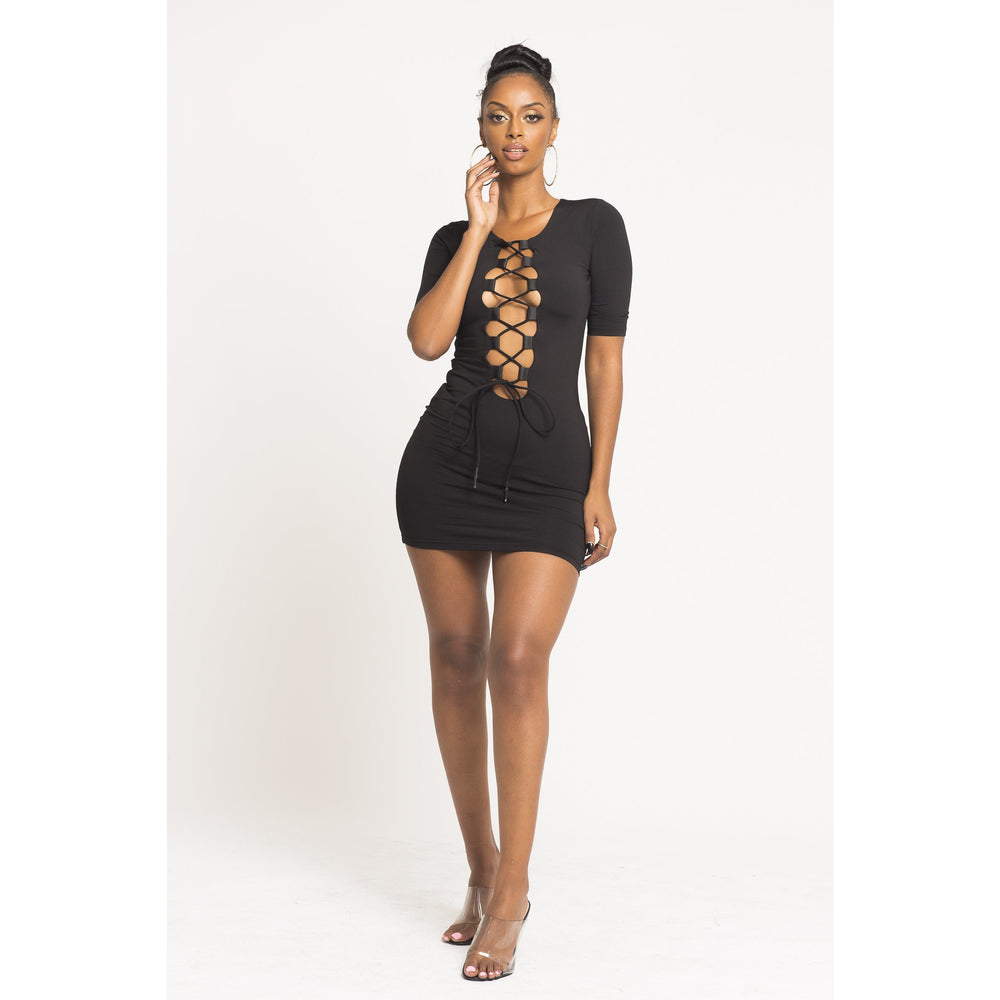 Love Me Not Laced Down Mini Dress