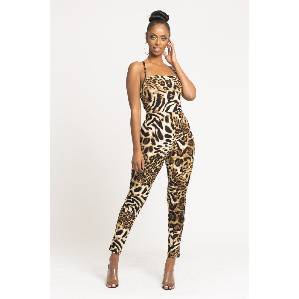 Women's backless Tiger slim Jumpsuit