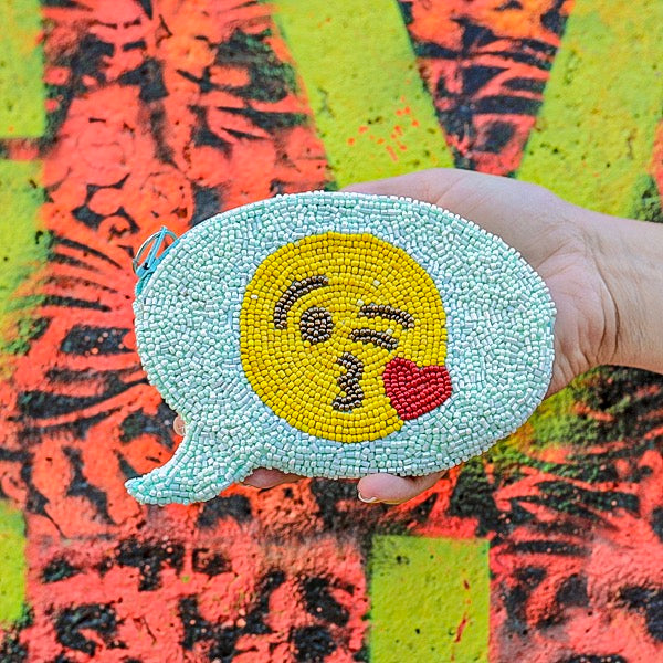 KISSY FACE EMOJI TEXT COIN PURSE