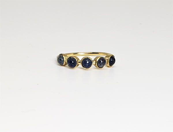 Copy of 10 K Yellow gold 5 Stone Cabochon Stack Ring Size 7 Blue Sapphire