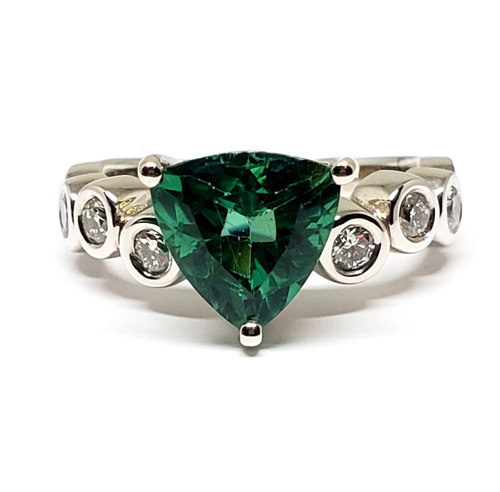 10 K White Gold Blue Green Tourmaline Trillion With Diamonds