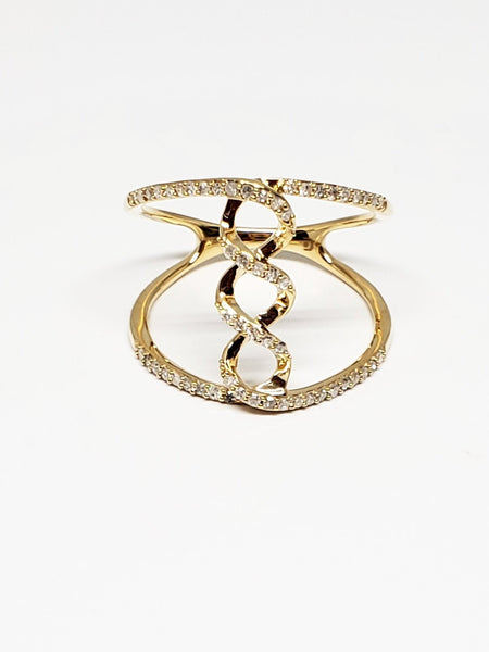 10 K Yellow Gold Open Twist Ring with Diamonds