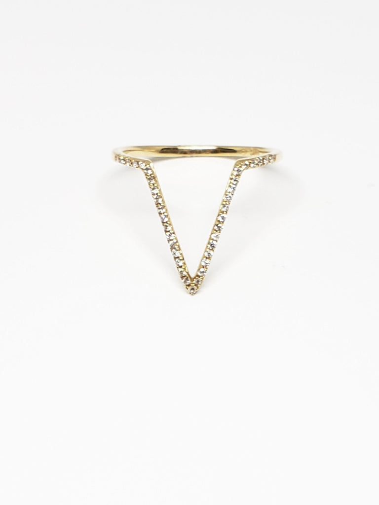 14K Yellow Gold Diamond V Ring