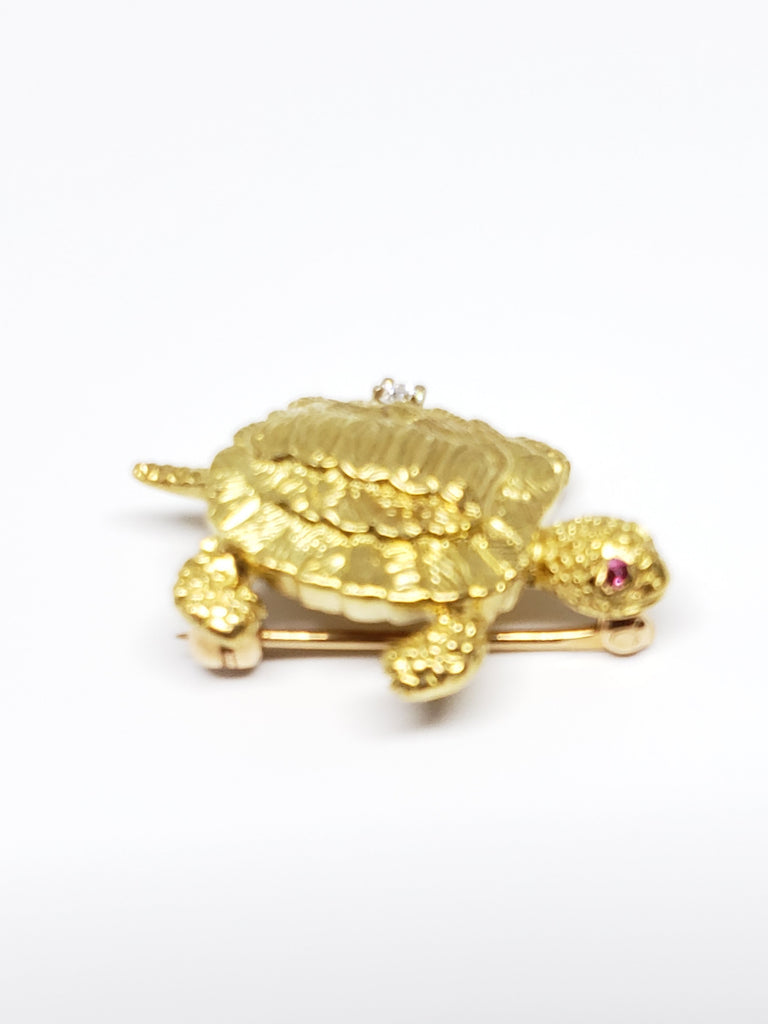 14 K yellow Gold Turtle Pin with Rubies and Diamonds