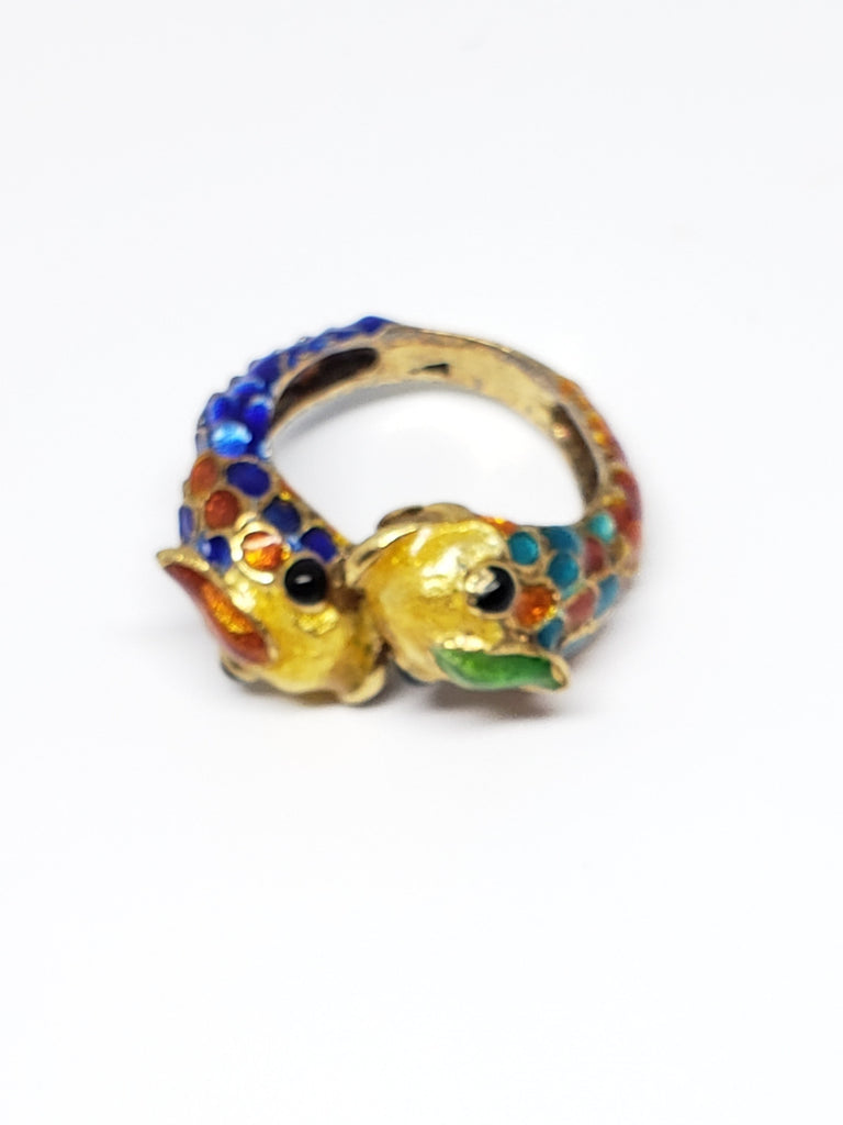 18K Yellow Gold and Enamel Koi Ring