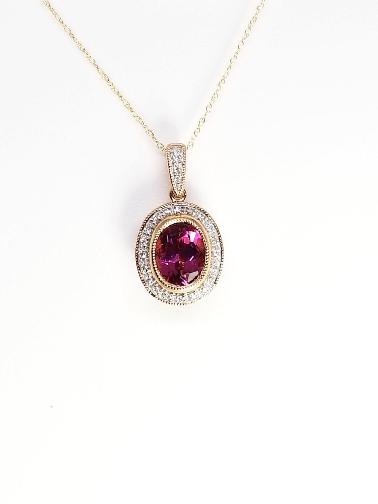 14 K Rose Gold and Pink Tourmaline Pendant