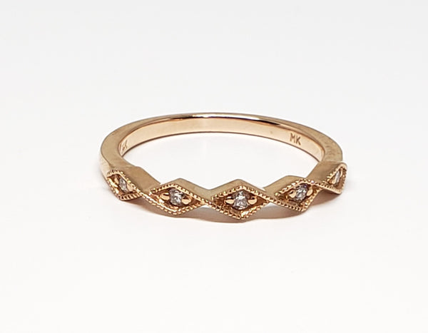 5 Stone Geometric Ring Rose Gold