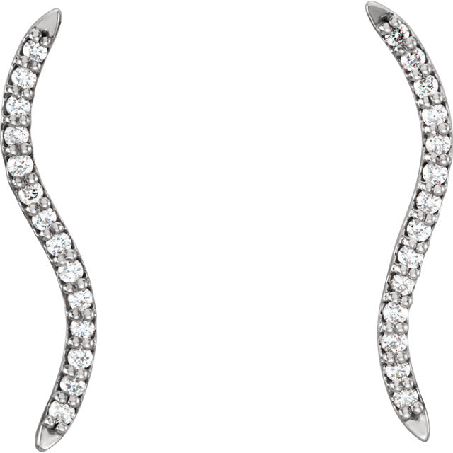 14K White 1/6 CTW Diamond Wavy Ear Climbers