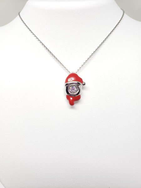 Sterling Silver Swarovski Crystal and Enamel Santa Hat with 18 inch Chain