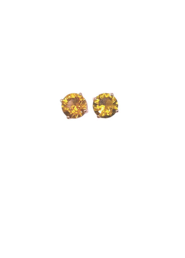 Yellow Green Tourmaline Stud Earrings