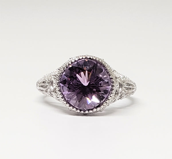 3 Carat Amethyst 14 Gold Filigree and Diamond Ring
