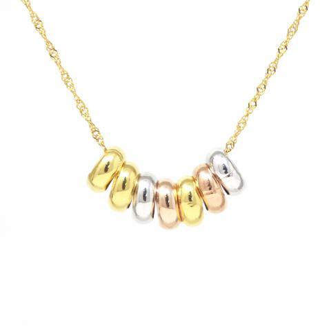 Tri Color 14 K Bead Necklace