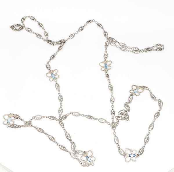 37 inch elongated silver necklace with aquamarine butterflies