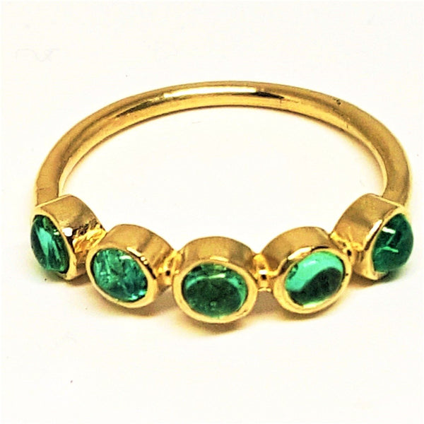 5 Stone Emerald Cabochon Stack-able Ring