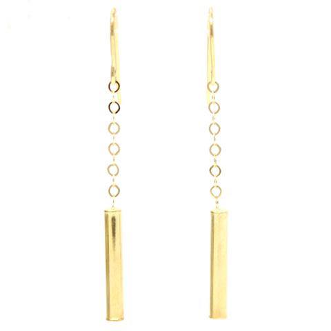 Cylinder Dangle Earring 14 K Yellow Gold