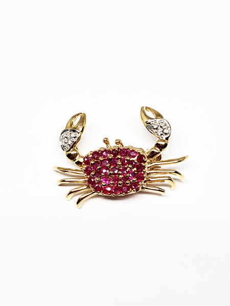 14 K Yellow Gold Ruby and Diamond Crab Pin