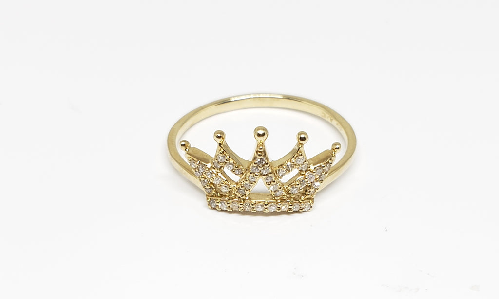10 K Yellow Gold and Diamond Crown Ring