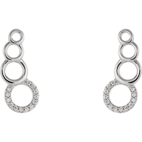 14K White .07 CTW Diamond Geometric Ear Climbers