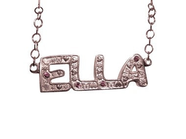 Silver Name Plate with Gemstones