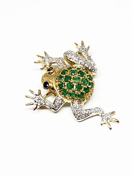 14 K Yellow Gold Emerald and Diamond Frog Pin
