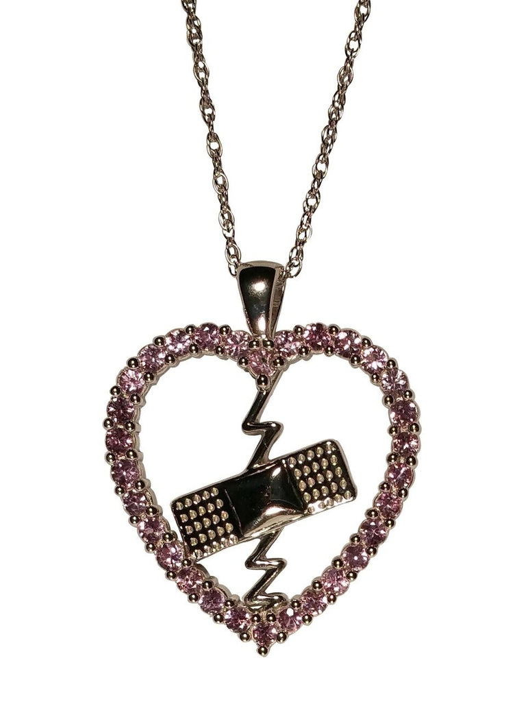 Mended Heart Pendant Pink Sapphires and Silver