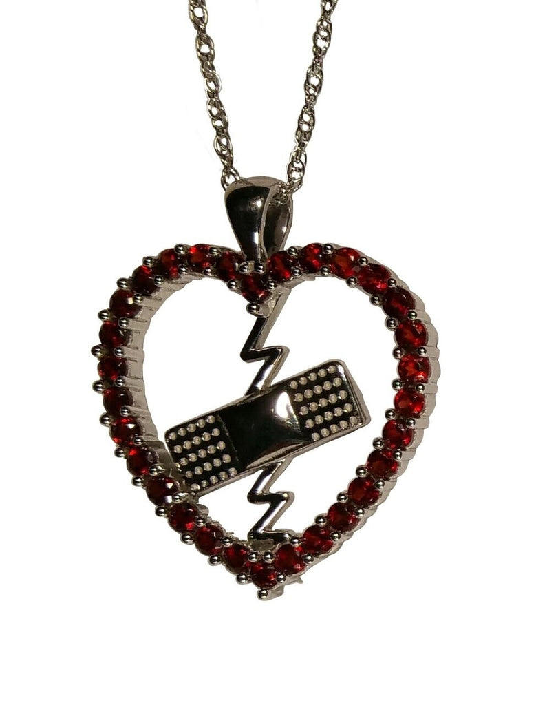 Mended Heart Pendant  Red Garnet and Silver