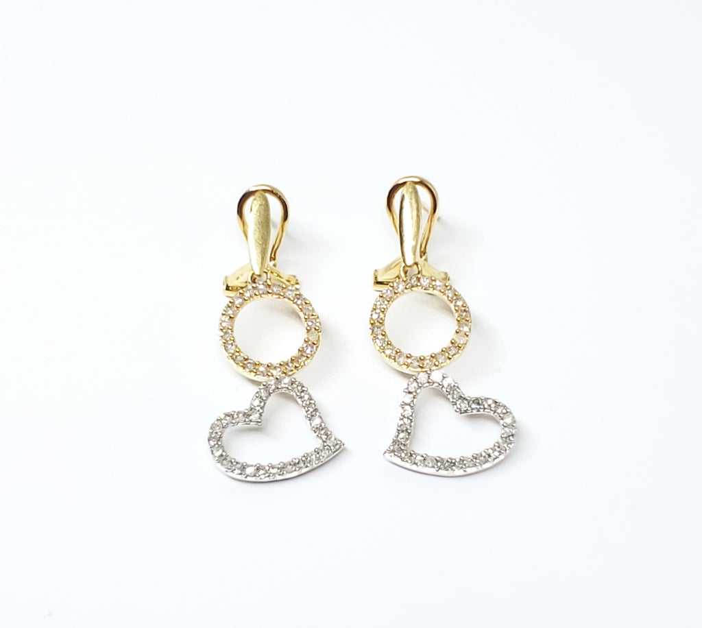 Omega Back Heart and Circle Earrings