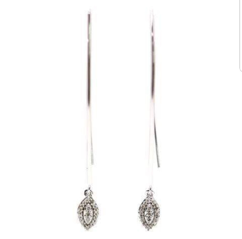 10K White Gold Threader Earrings with Diamonds