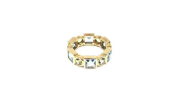 10 K Yellow Gold Blue Topaz and Peridot Eternity Band