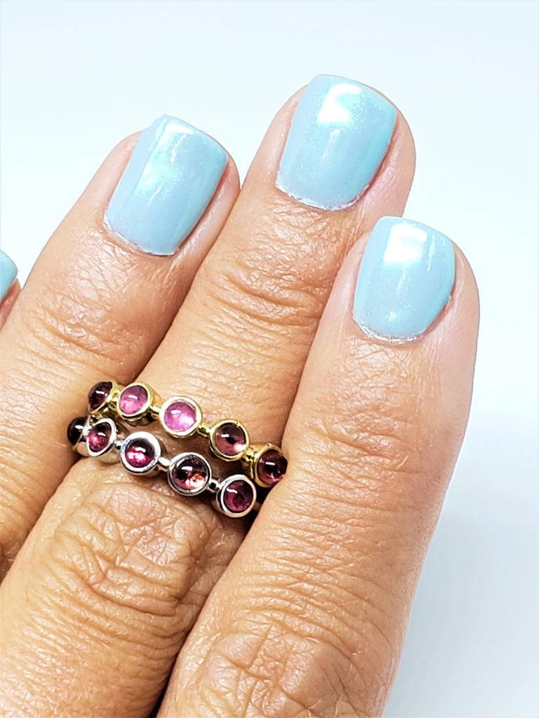 Pink Tourmaline Stack-able rings in Yellow and White Gold