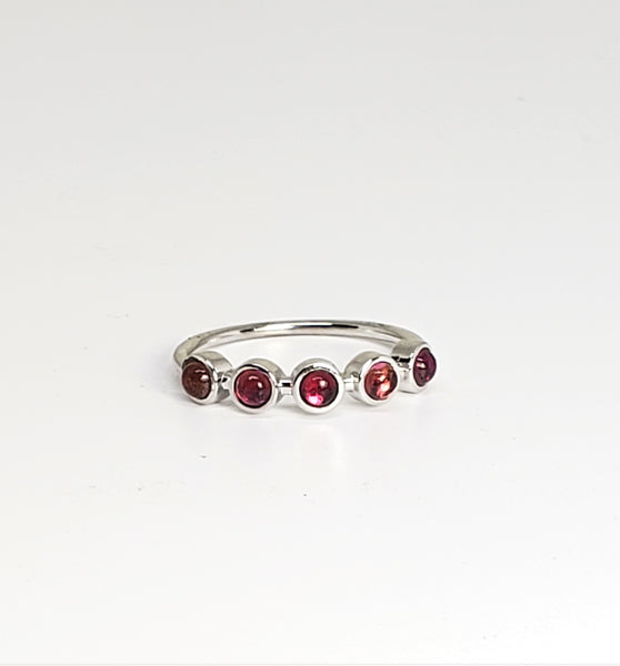 Copy of 10 K White gold 5 Stone Cabochon Stack Ring Size 7 Pink Tourmaline