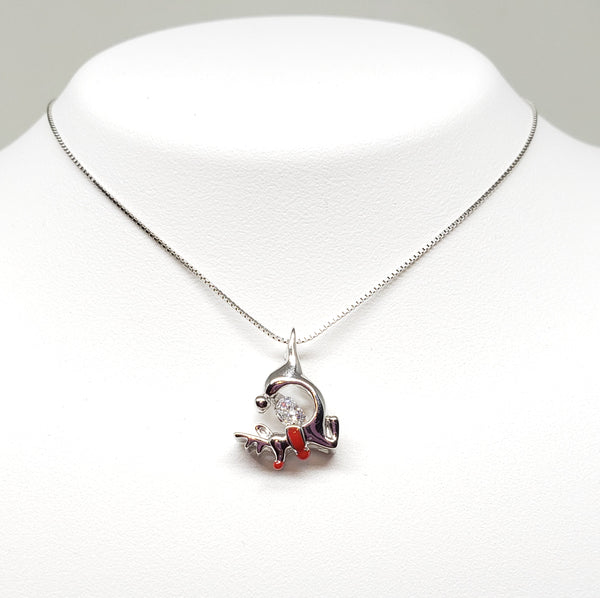 Sterling Silver Swarovski Crystal and Enamel Reindeer with 18 Necklace