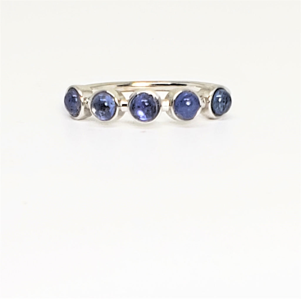 10 K Yellow gold 5 Stone Cabochon Stack Ring Size 7 Blue Sapphire