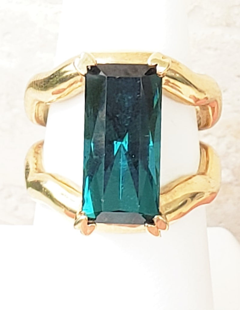 6.1 Carat Blue Green Tourmaline Ring in Yellow Gold