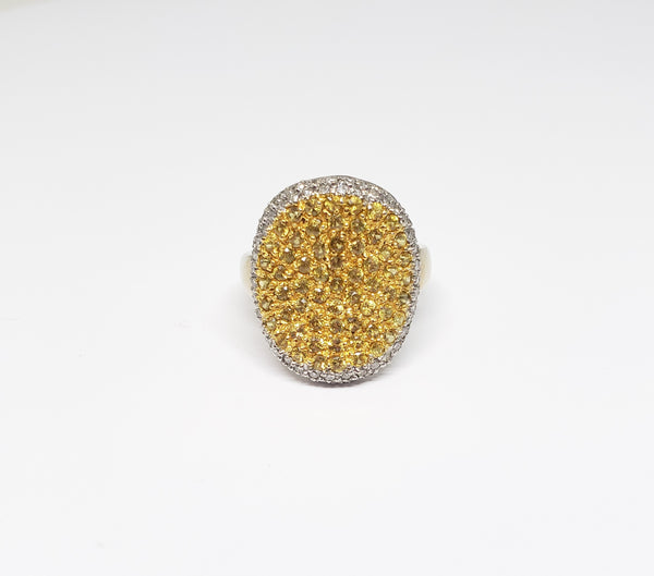 14 K White Gold and Yellow Sapphire Pave Ring
