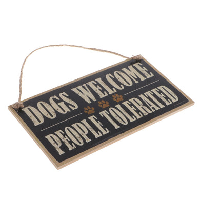 Vintage Dogs Welcome People Tolerated Board Plaque Wooden Sign Hanging Decor with Jute Twine