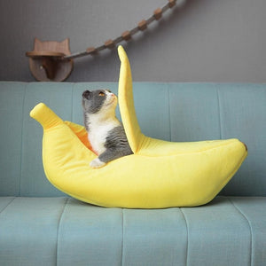 Cat Bed Cute Banana Peel Shape Pet Nest Warm House for Dog Cat Winter Sleeping Cat Beds for Cats Nest Warm Boat House
