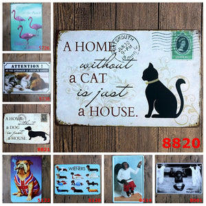 1 Pcs 20x30CM Lovely Animal Funny Vintage Tin Sign,Cat and Dog Animal Movie Poster Retro Picture Bar Home Art Decor