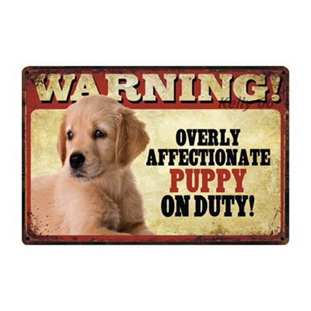 [ Kelly66 ] Pets Dog Warning Husky Poodle Puppy Pug Metal Sign Tin Poster Home Decor Bar Wall Art Painting 20*30 CM