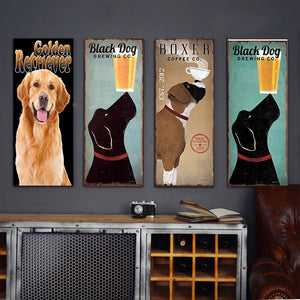 Golden Dog Chic Home Bar Cafe Vintage Wall Decor Art Metal Tin Signs Pub Tavern Retro Decorative Plates Metal Poster