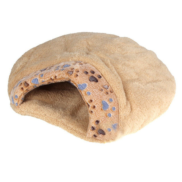 New New Winter Warm Pet Dog Cat Bed House Cushion Half Covered Bed Sleeping Bag Comfortable Cute Hamburger Shape Plush