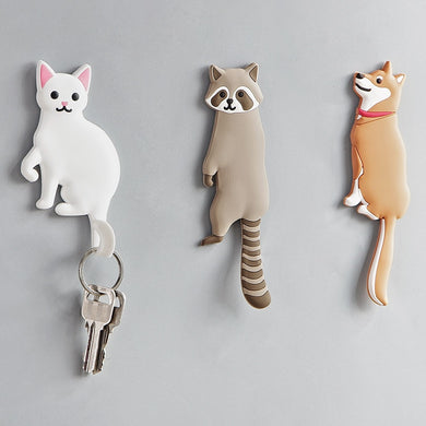 Cartoon animal cat hook Multifunctional door back wall decoration nail-free Key hanger Portable seamless cute hook