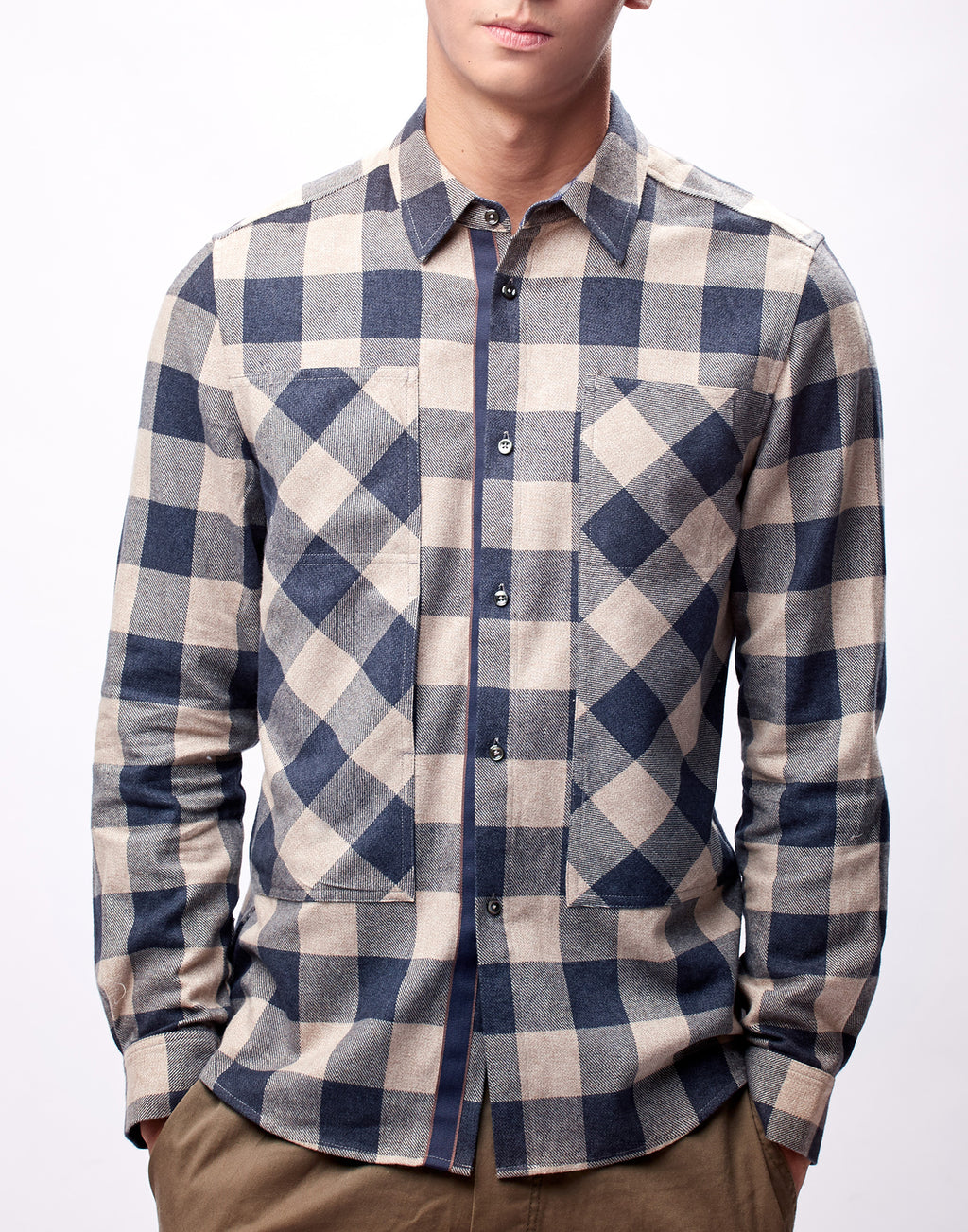 Beige and Blue Flannel Shirt