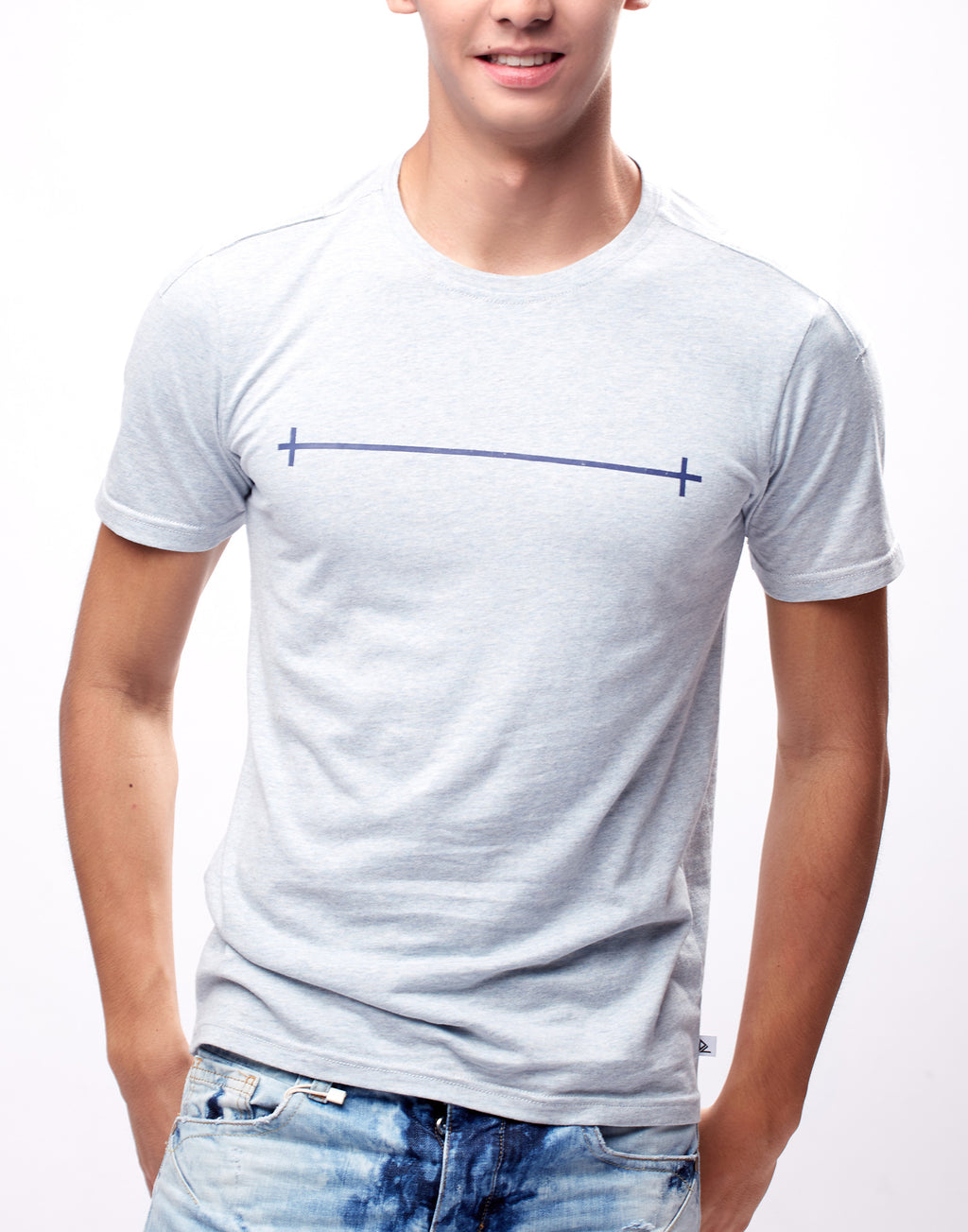 Light Grey Blue Printed Graphic T-Shirt