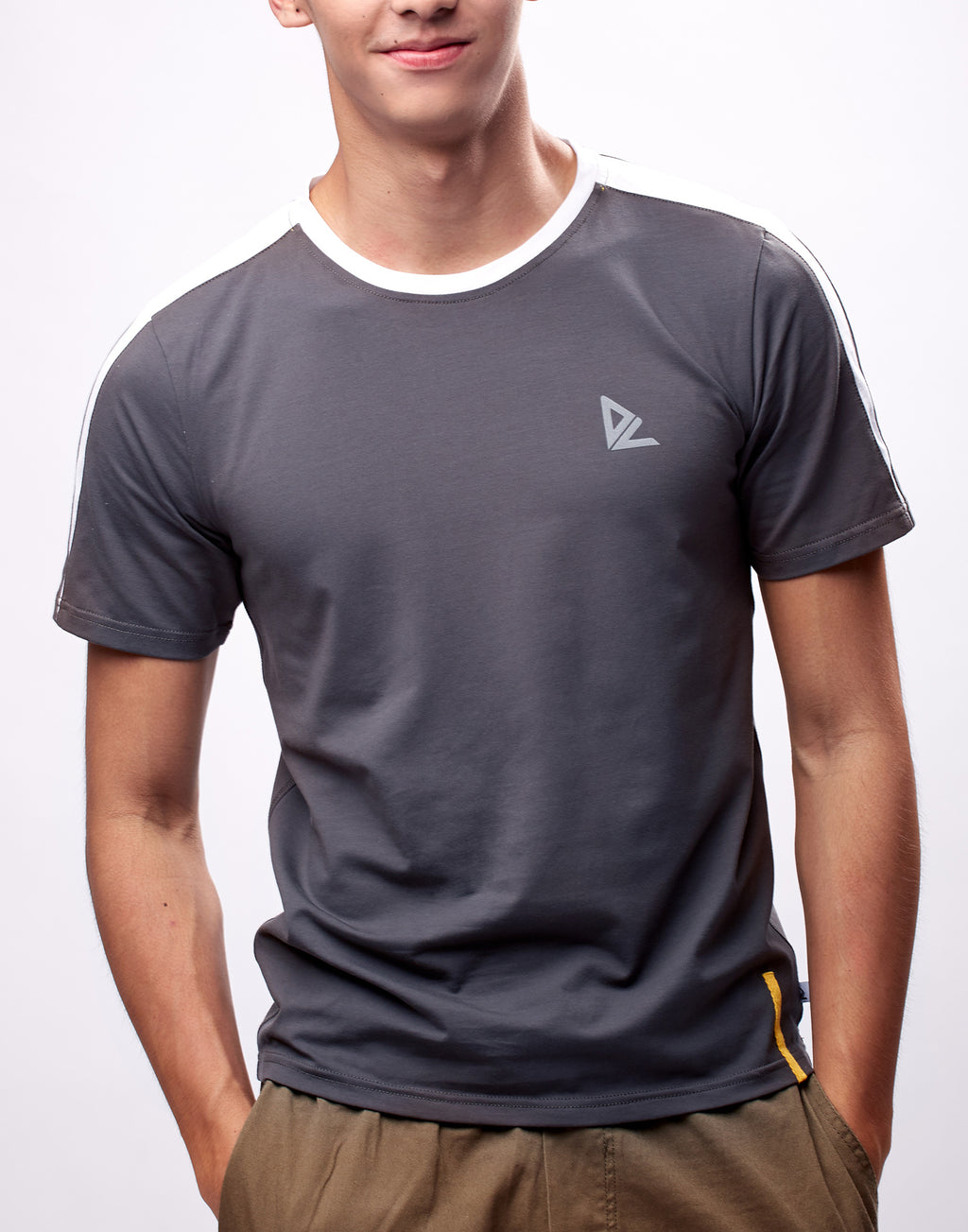 Dark Grey Colorblock Printed Logo T-Shirt