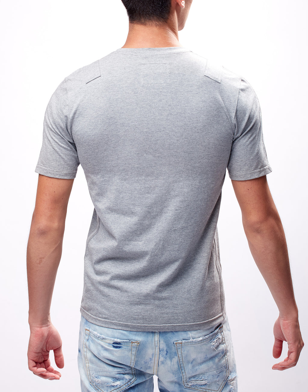 Grey Fitted V-Neck T-Shirt